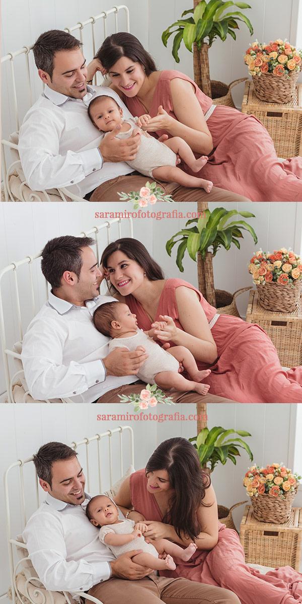 Como es una sesión de fotos de bebé en familia en Alcalá de Henares, Madrid